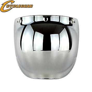 ETbotu Retro 3-snap Sunscreen Sun Shield Visor Bubble Mirro for Motorcycle Helmet Face Lens