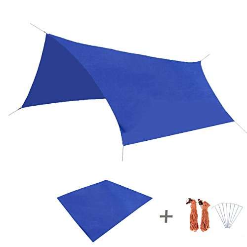 TRIWONDER Waterproof Hammock Rain Fly Tent Tarp Footprint Camping Shelter Ground Cloth Sunshade Mat for Outdoor Hiking Beach Picnic (Dark Blue, L+Accessories)
