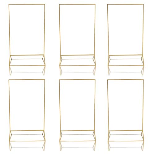 Gold Acrylic Frame Picture Table Holder | Ideal for Double Sided Sign, Clear Photo Holders, Menu Set, Art Display, Wedding Number Stand Decor, Set of 6 5' x 7 inch Frames