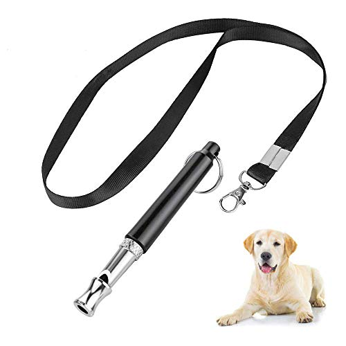 Hores Dog Whistle to Stop Barking - Barking Control Ultrasonic Patrol Sound Repellent Repeller - Adjustable Pitch in Black Color Free Premium Quality Lanyard Strap ()