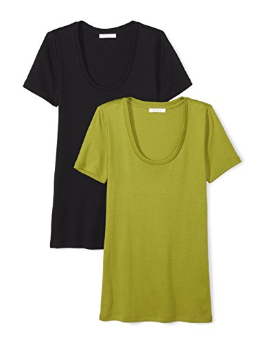 - Amazon Brand - Daily Ritual Women's Midweight 100% Supima Cotton Rib Knit Short-Sleeve Scoop Neck T-Shirt, 2-Pack, Black/Woodbine Green, Small