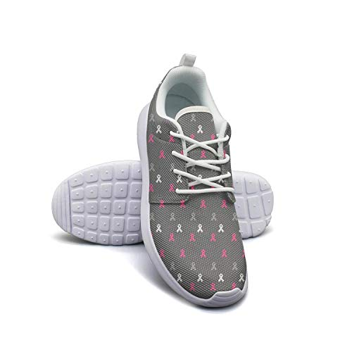Women's Athleisure Sneakers Breast Cancer Pink Cute Ribbon Flag Ultra Lightweight Breathable Mesh Christmas Fashion Shoes