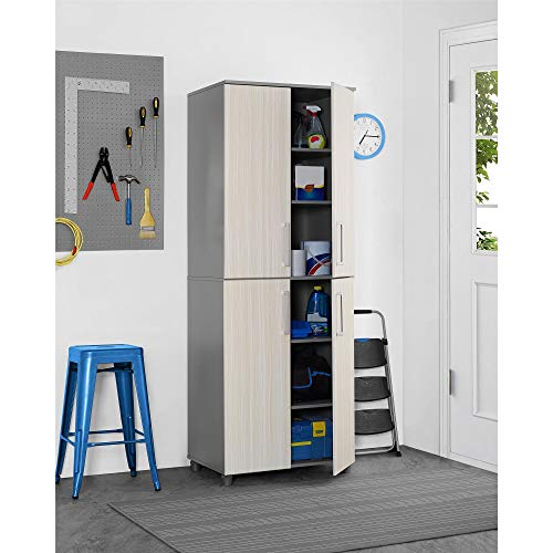 Matt Adjustable Nickel (Versatile Latitude Tall Cabinet - Adjustable Shelving Heavy-Duty Engineered Wood - Minimalistic Design - Grey (Tan/Grey))