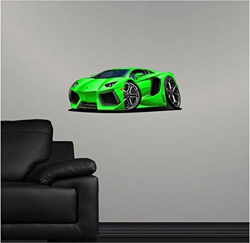 "24"" Lamborghini Aventador Green Wall Decal Cartoon Car 3D Sticker Mural Kids Room Sports Den Man Cave Boys"