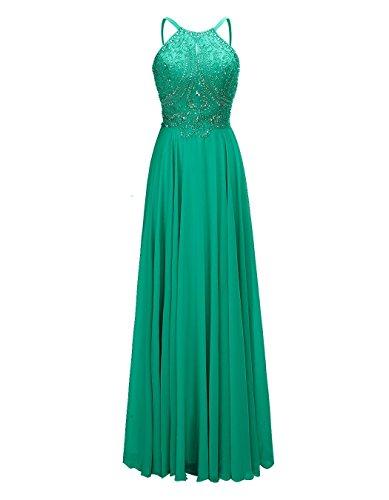 Alagirls Des Femmes De Soirée En Mousseline De Soie Perles Robe De Bal Longue Robes De Fête Formelle Vert
