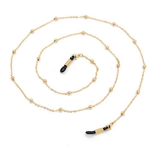 Metal Eyeglass Chains Holder Glasses Holder Sunglass Cord Neck Strap (Golden Bead) ()