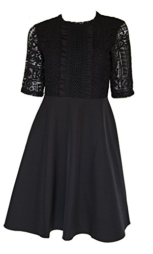 amp; Black Flare Lace Women Doria Patterned Sleeve Short Fit dress wgYTzqHx