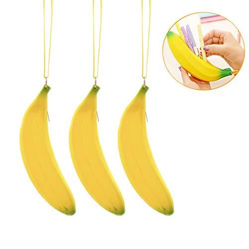 (3Pcs Fun Banana Pen Bag Silicone Pencil Case - Portable Big Capacity Purse Wallet Wristlet Coin Bag with Wrist Strap, Zipper Design Coin Bag Key Pouch for Pen Lipstick Key Coin Money (Yellow))