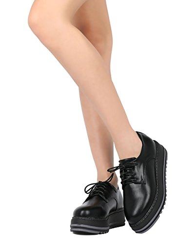 Alrisco Kvinnor Plattform Arbete Boot - Snörning Ranka Boot - Trendigt Flatform Mode Toffeln - Hb21 Genom Dbdk Samling Svart Konstläder