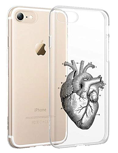 [InkModo] Clear Case for iPhone 7 / iPhone 8 - Anatomical Heart Design Printed Unique Pattern Back -