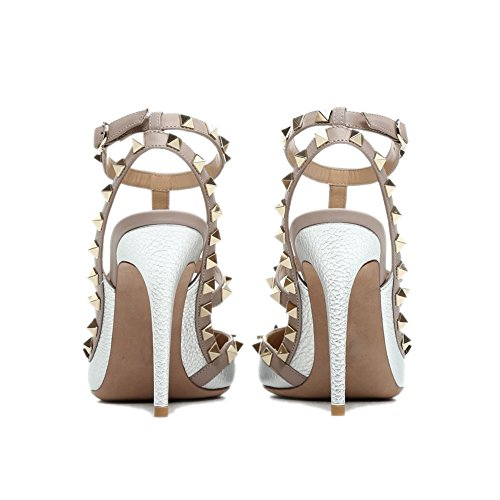 Strappy Pointed Us gold High Stud Slingback Silver t Heels Sandals 14 Stilettos Leather Pattern Pumps Chris Toe 4 Women Studded Zq0wwEHU