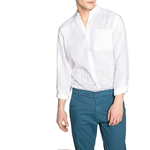 La Redoute Collections Mens Linen Mandarin Collar Regular Fit Shirt White Size M (39/40) from La Redoute