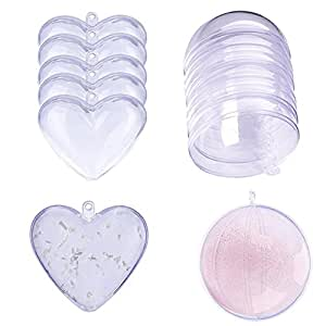 Bath Bomb Plastic Mold, Uclever 10 Sets DIY Clear Ball Heart Shape Mold Supplies, 2.36 inch, BPA-free