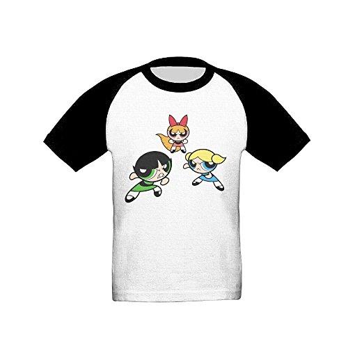 Kid's The Powerpuff Girls Toddler Boy Girl Short Sleeve Raglan T Shirt 100% Cotton 2 Toddler