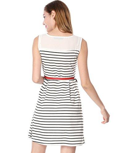 A Bianca Contrasto Allegra W Cintura line A Pannello Dress K Pieghettato Di Xl Delle Righe Donne wZq1IUZzp