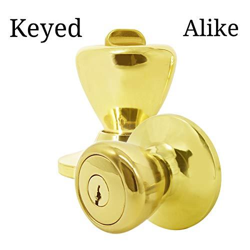 Keyed Alike Door Knobs in Polished Brass,Tulip Door Knobs Combo Pack,10 Pack Tulip Entry Door Knobs Golden,Combo Door Lock Set Contractor Pack,Door Hardware by -