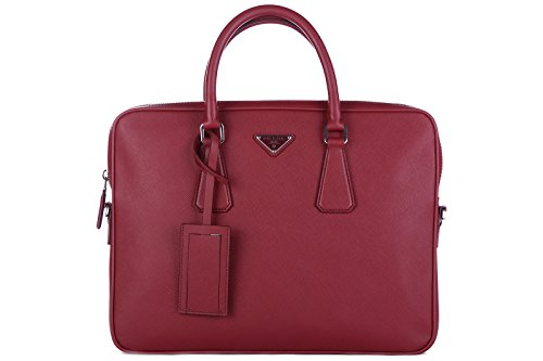 Bag Prada Briefcase (Prada briefcase attaché case laptop pc bag leather saffiano travel red)