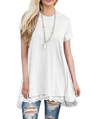 Sanifer Women Lace Short Sleeve Tunic Top Blouse (Medium, White)
