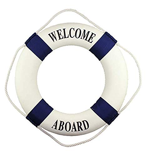 aaron2 52cm(20in) Welcome Aboard - Nautical Decorative Life Ring Buoy - Home Wall Decor - Nautical Decor - Decorative Life Ring Preserver