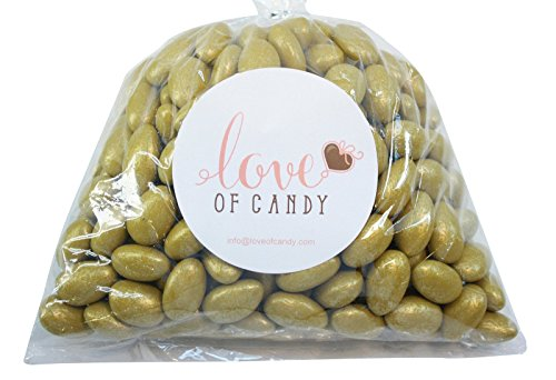 Love of Candy Bulk Candy - Gold Jordan Almonds - 1lb Bag]()