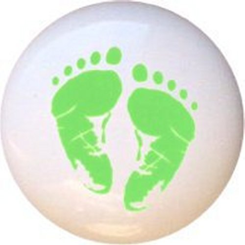 2c5bf78a8d85b Amazon.com  Green Baby Footprints in Pastels Decorative Glossy ...