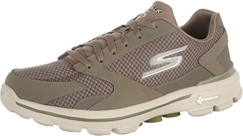 Skechers Mens GOwalk 3 Revolve Walking Shoe,Khaki,US 7.5 M (Leather Khakis Skechers)