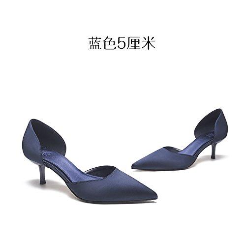 Con Zapatos Satén Azul De Cm Con Mujer De azul Seda 5 GAOLIM Sandalias Zapatos De El Verano Delgadas Punta Tacones Zapatos De Altos Mujeres Con De RIfdwWH0q