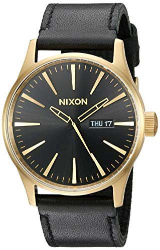 (NIXON Sentry Leather A129 - Gold/Black - 124M Water Resistant Men's Analog Classic Watch (42mm Watch Face, 23mm Leather Band))