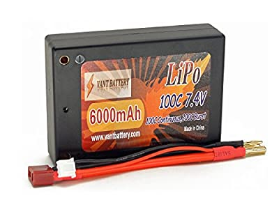 7.4V 6000mAh 2S Cell 100C-200C Square HardCase LiPo Battery Pack w 4mm Bullet, Deans Ultra Connector
