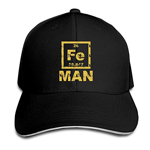 (Whenpigsfly Unisex Iron Man Fe Periodic Table Elements Science Peaked Sandwich Hat Sports Adjustable Baseball Cap Black)