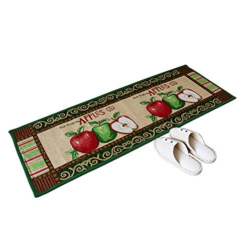 Grapy Vintage Red Green Apple Pattern Water Absorbent Jacquard Fabric Kitchen Mat Area Rug Floor Mat Non-Slip Doormat 17.7