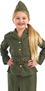 1940s Children's Clothing: Girls, Boys, Baby, Toddler Extra Large Khaki Girls WW2 Army Girl Costume $18.99 AT vintagedancer.com