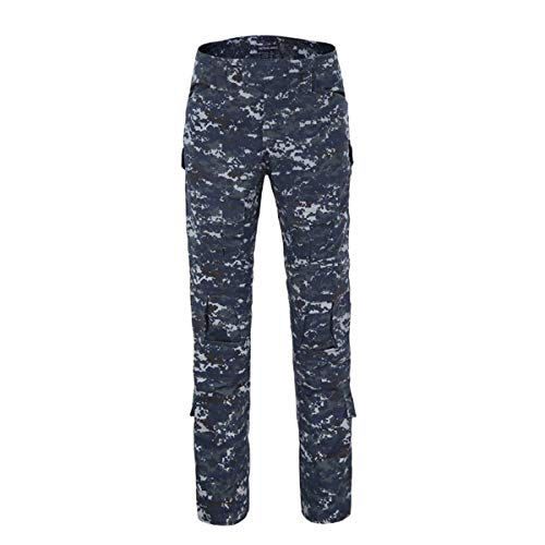 QCHENG Mens Multicam Combat Pants Airsoft Hunting Military Paintball Tactical Army Camo Trousers Uniform Navy Blue Small