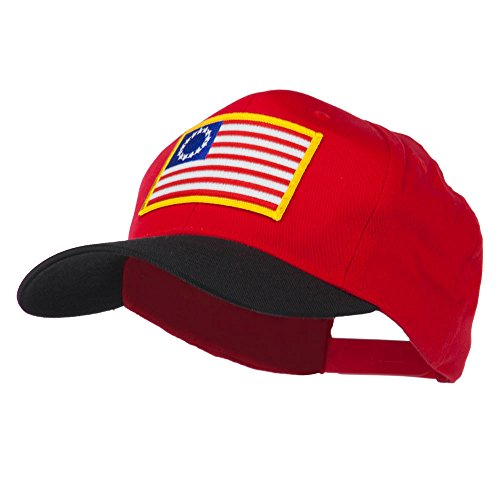 [Betsy Ross Flag Patched Cotton Twill Pro Style Cap - Black Red OSFM] (Betsy Ross Hat)