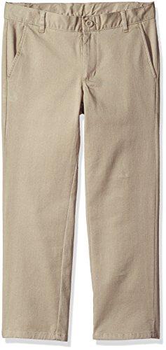 Nautica Boys' Husky Flat Front Twill Pant, Khaki/Stretch, 14