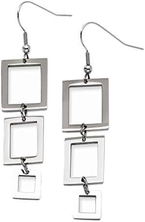 Stainless Steel Linked Rectangular Dangle Earrings