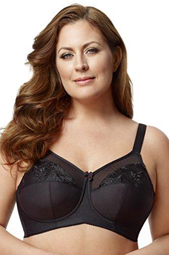 Elila Women's Plus Size Wirefree Full Coverage Embroidered Bra Black,52 F