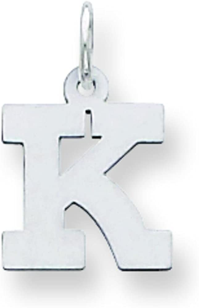 Sterling Silver Small Block Initial Letter K Charm