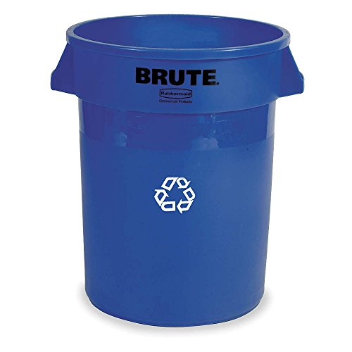 Rubbermaid Commercial BRUTE Heavy-Duty Round Recycling/Composting Bin, 20-Gallon, Blue Recycling (6-Pack)(FG262073BLUE)
