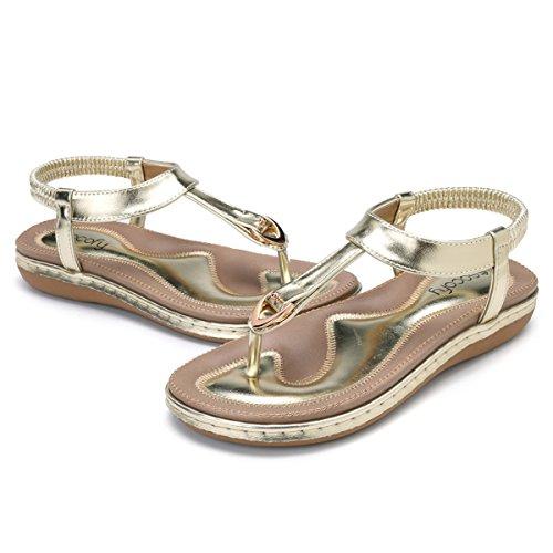 gracosy Women Summer Flat Sandals Bohemian Flip Flops Thongs Comfortable Elastic Clip Toe Flat Beach Sandals Low Wedge Heel Shoes Slingback Slip on Casual Vacation Walking Shoes Size Golden vM7kjSXDH