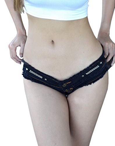 Thong Mini COMVIP Denim Cheeky Style1 Rise Jeans Low Nero Donna WYxUqfSg