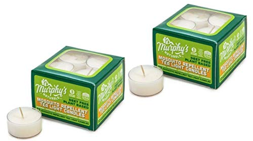 Murphy's Naturals Mosquito Repellent Tea Light Candles | Outdoor Citronella Candles for Patio, Yard and Garden | Rosemary, Peppermint, Lemongrass and Beeswax | Made in USA | 12 Candles Per Box