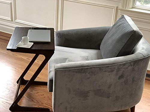 AVIGNON HOME Sofa Table TV Tray Super Top Laptop Desk Removable Side Snack End Tables for Bed Sofa Eating Writing Reading Living Room Walnut Couch Desk Dinner 23