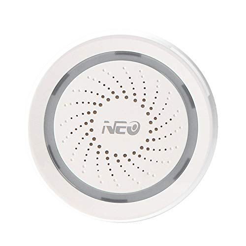 (NEO Smart Wi-Fi Siren Alarm Battery-Powered & USB Charged App Notification Alerts, No Expensive Hub Required, Work with Alexa, Google Assistant, IFTTT)