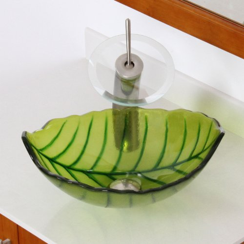 ELITE Spring Leaves Design Tempered Bathroom Glass Vessel Sink & Oil Rubbed Bronze Faucet Combo