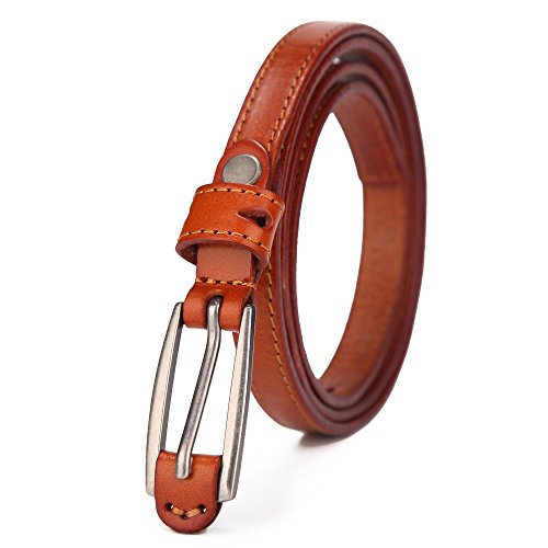 BISON DENIM Women's Stylish Thin Patent Genuine Leather Skinny Waist Belts For Dresses Brown 95cm