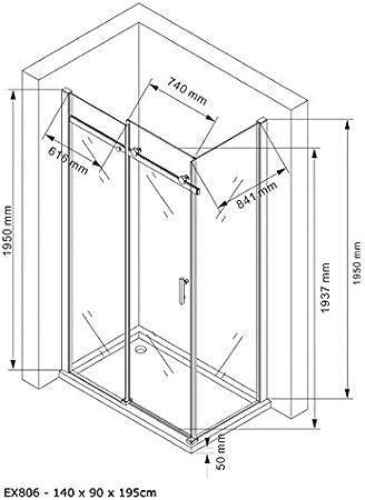 90 x 140 x 195cm en verre de s/écurit/é traitement NANO Paroi de douche fixe et porte coulissante EX806 Installation de la douche:Montage /à droite