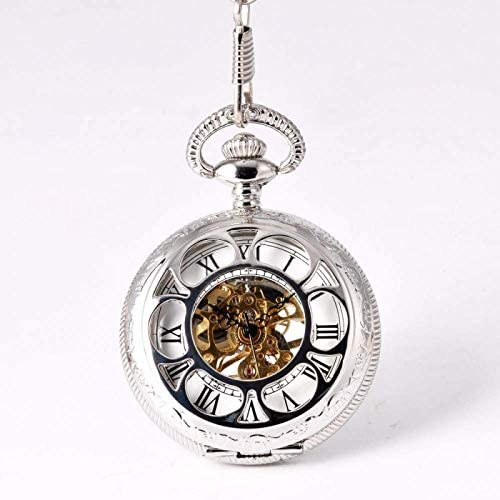 YXZQ懐中時計、スライバー機械花びらレトロファッションシンプルな彫刻手作りラウンド機械式時計ユニセックス