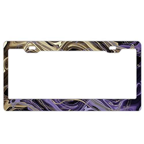 (Fabri.YWL Abstract Gold & Ultra Violet Liquid Marble License Plate Frame Car Tag Frame Auto License Plate Holder 12