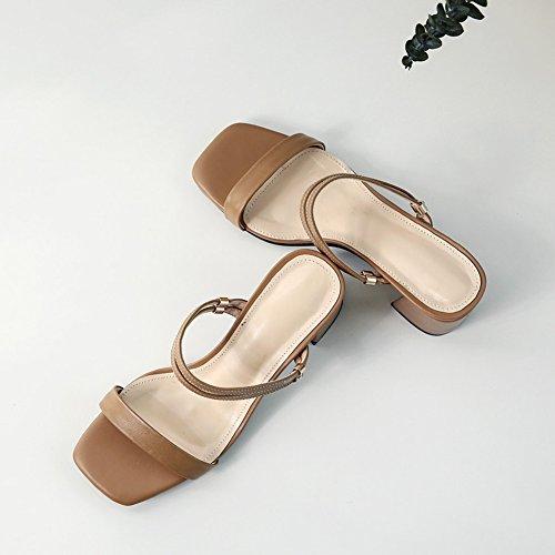 de tamaño New Sandalias de moda Sandalias mujer Mujeres Sandalias Zapatos de Zapatos grueso Color tacón verano Sandalias Marrón de abierta Marrón mujer Look de PU de Sandalias mujer de punta Comfort dEOnggqCx